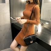 EASON SHOP(GU9307)韓版純色坑條紋小高領長袖針織連身裙洋裝女上衣服彈力貼身包臀裙修身顯瘦短裙
