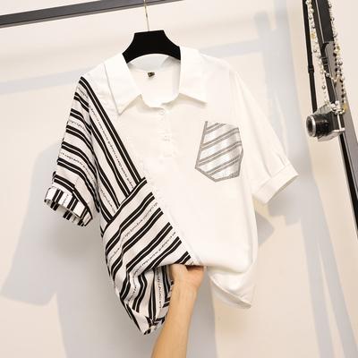 L-4XL大碼撞色襯衫上衣時尚顯瘦撞色襯衫上衣女11200 4F098 胖妹大碼女裝