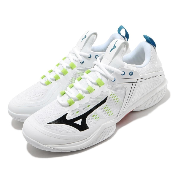 Mizuno 排羽球鞋 Wave Claw Neo Wide 白 黑 寬楦頭 男鞋 運動鞋 膠底 【ACS】 71GA2070-45