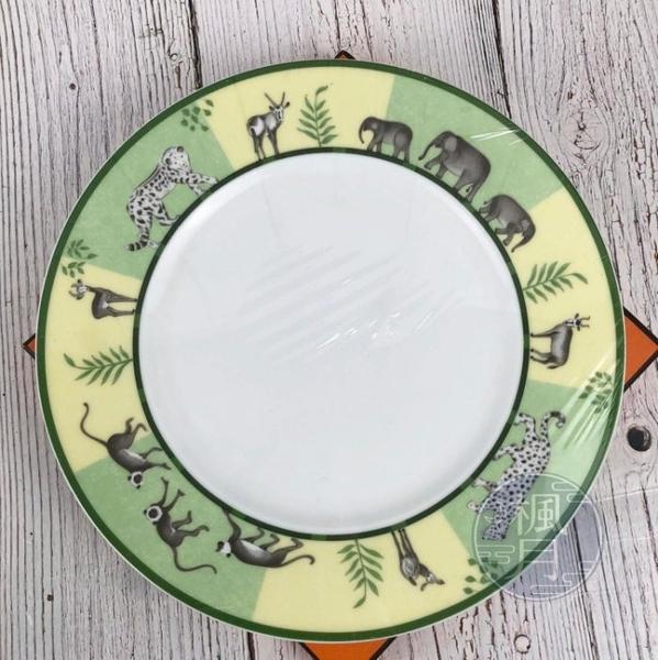 BRAND楓月 HERMES 愛馬仕 AFRICA GREEN系列 叢林 動物 綠色 中盤 瓷盤