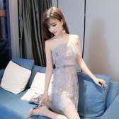 一字領洋裝 連衣裙性感荷葉邊漏肩網紗吊帶公主裙洋裝小禮服