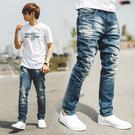 牛仔褲 韓國製立體刷色油漆造型小直筒牛仔...