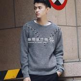 大呎碼上衣毛衣男士針織衫學生寬鬆男潮韓版個性圓領線衫大碼線衣 歐韓流行館