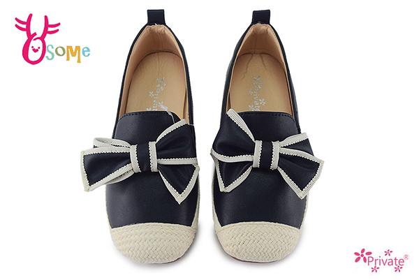 Private普萊米 中小童 歐風貴族蝴蝶結 套入式 休閒鞋 H6059#藍色◆OSOME奧森鞋業