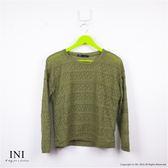 【INI】唯美漫步、輕柔修身條紋薄針織上衣.墨綠色