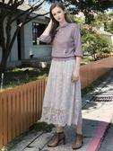秋冬單一價[H2O]連帽袋口縫珠裝飾八分泡泡袖針織線衫 - 綠/灰/紫粉色 #8630039