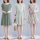 棉麻洋裝連身裙~棉綢碎花短袖連衣裙系繩寬松舒適沙灘裙海邊度假裙5816#MB119B衣時尚
