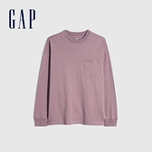 Gap男裝 基本款圓領厚磅休閒長袖T恤 660825-藕粉色