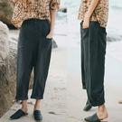 休閒褲-黑色單排扣寬鬆大碼亞麻哈倫/設計家 XK8780