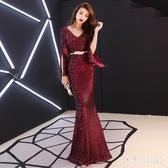 高端晚禮服女2019連身裙高貴宴會氣質魚尾長款洋裝主持人酒紅色氣場女王 KV4495 『小美日記』