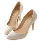 amai法式素面低口尖頭高跟鞋 白