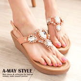 現貨-MIT韓國時尚寶石水鑽楔型夾腳涼鞋