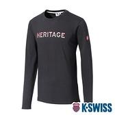 K-SWISS Heritage Stripe Tee印花長袖上衣-女-黑