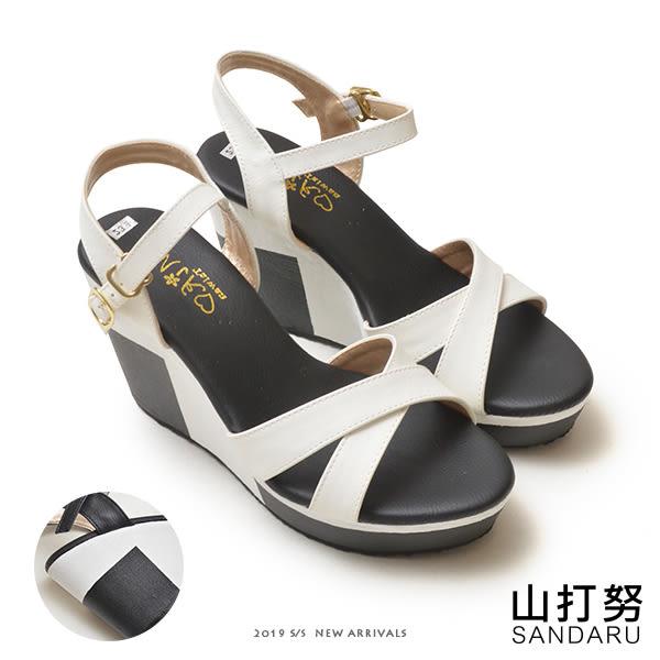 涼鞋 交叉側扣撞色楔型鞋-山打努SANDARU【107A6371#46】