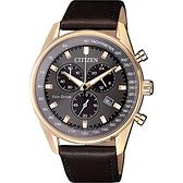 CITIZEN 星辰 限量光動能計時手錶-灰x玫瑰金框/40mm AT2393-17H