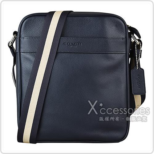 COACH經典壓印LOGO牛皮雙色帆布背帶方形拉鍊斜背包(深藍)
