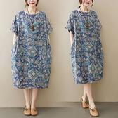 棉麻復古印花顯瘦寬鬆版洋裝-大尺碼 獨具衣格 J3707