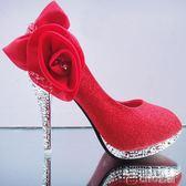 女婚鞋春夏季新款高跟鞋細跟水鑽新娘鞋百搭銀色婚禮鞋花朵 ciyo黛雅