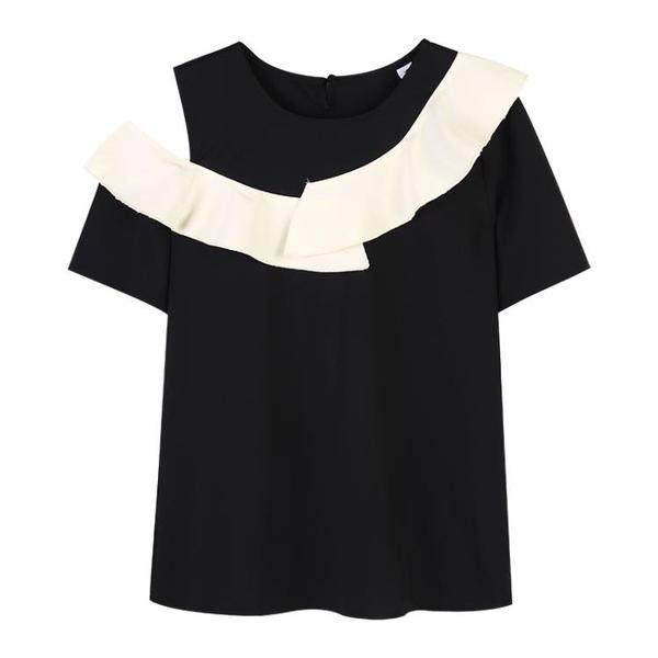 短袖遮肚子雪紡衫女洋氣小衫夏季新款法式顯瘦寬松荷