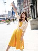 洋裝連身裙 兩件套吊帶裙雪紡兩件黃色小清新仙氣小個子裙子正韓