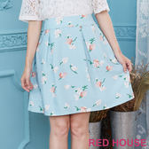 Red House 蕾赫斯-輕柔花朵摺裙(淺藍色)
