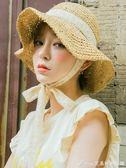 帽子女夏小清新韓版百搭繫帶蕾絲草帽防風沙灘太陽帽chic夏天出游艾美時尚衣櫥