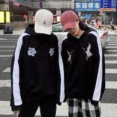 秋冬季新款原宿風仙鶴刺繡寬鬆情侶裝加絨上衣bf連帽加絨帽T女裝