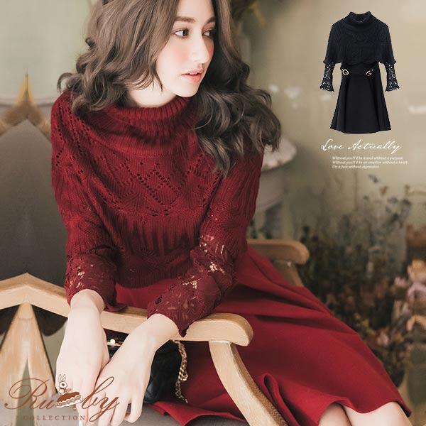 洋裝 拼接袖子腰帶裝飾針織斗篷兩件式長袖洋裝-Ruby s 露比午茶