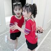 中大女童夏季親子裝2020夏裝純棉T恤兒童韓版短袖洋氣上衣汗衫潮