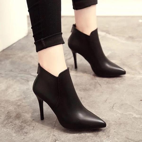 細跟短靴 2021秋冬新款尖頭短靴後拉鏈百搭女靴高跟鞋細跟顯瘦時裝靴馬丁靴 歐歐