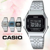 CASIO手錶專賣店 卡西歐 LA680WA-1B 女錶 電子錶 鬧鈴 數字顯示 不銹鋼錶帶