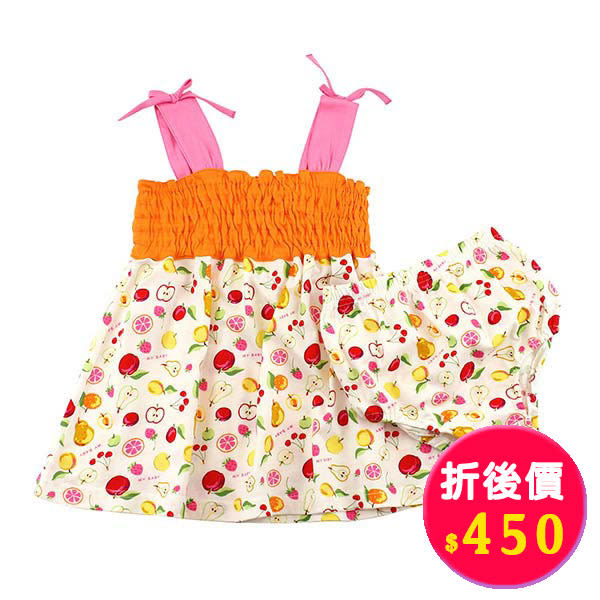 肩帶露背套裝/1~3歲-台灣製