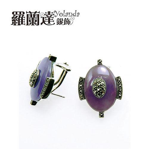 耳環925純銀。復古系列---橢圓形天然紫玉髓。民族風耳環。【羅蘭達銀飾】