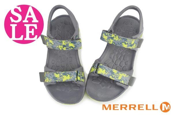 MERRELL男童織帶涼鞋 中童 輕量環保運動涼鞋 零碼出清 I6490#灰綠◆OSOME奧森童鞋