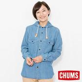 CHUMS 日本 女 CPO 兜帽丹寧襯衫 淺漂藍 CH121067N035