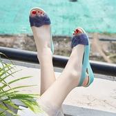 魚口鞋夏季塑膠涼鞋女坡跟厚底海邊度假媽媽沙灘鞋女魚嘴水晶果凍鞋新年禮物 韓國時尚週
