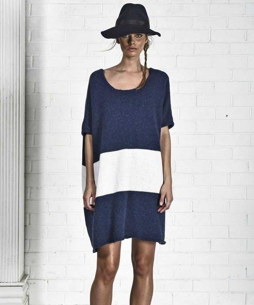 OneTeaspoon 短袖毛衣洋裝  WOOL BLEND CHUNKY KNIT - 女 (軍藍/白條紋)三