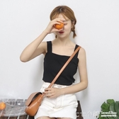 韓版無袖打底衫白色心機上衣夏短款內搭黑色樹葉小吊帶背心女外穿
