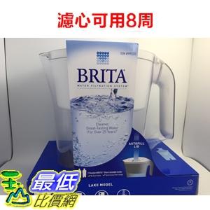[限量10組特價] Brita Lake (最高容量4L) 2.4L 白色 10杯 濾水壺 (含1支8周圓形濾芯) 可過濾151公升