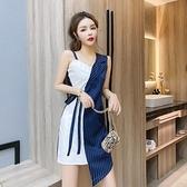 2021夏新款氣質女神范性感修身不規則拼接襯衫吊帶連衣裙女 茱莉亞