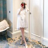2018新款孕婦裝春裝時尚上衣寬鬆蕾絲孕婦連身裙春夏裝韓版兩件套