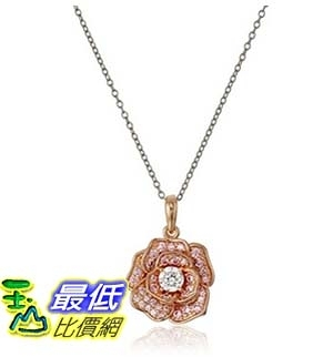 [美國直購] Rhodium and Rose Gold Plated Sterling Silver Round White Cubic Zirconia 4.5mm and Pink Cubic 18 項鍊