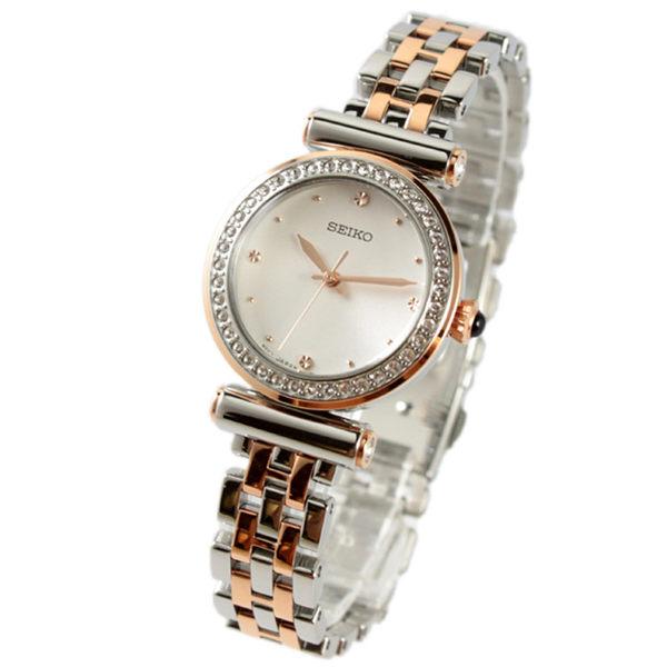 [萬年鐘錶] SEIKO  簡單素面 施華洛世奇水晶 不鏽鋼手錶 銀色 28mm 銀x玫瑰金框  SRZ466P1(7N01-0HY0P)