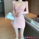緊身洋裝 早春季女裝甜美性感顯瘦方領低胸繫帶粉色緊身連身裙氣質優雅-Ballet朵朵