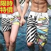 情侶款海灘褲(單件)-防水衝浪童趣圖案跨界氣質男女短褲66z50【時尚巴黎】