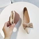 甜美娃娃鞋 2021春平底尖頭單鞋女淺口平跟軟皮蝴蝶結豆豆鞋軟底仙女風船鞋 豆豆鞋