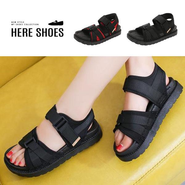 [Here Shoes]百搭款魔鬼氈平底鬆糕厚底涼鞋-ASB-16