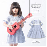 純棉 田園風蕾絲小花直條紋棉麻洋裝 荷葉邊 連身裙 日系 藍色 女童 哎北比童裝