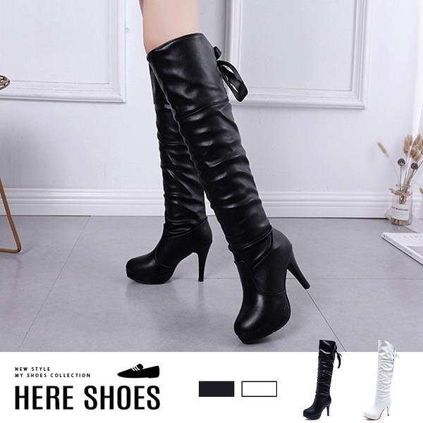 [Here Shoes]長靴-前2 後10cm 防水台皮革細跟 後綁緞帶 長靴 高筒靴  Show girl 展場皮靴-KD818A
