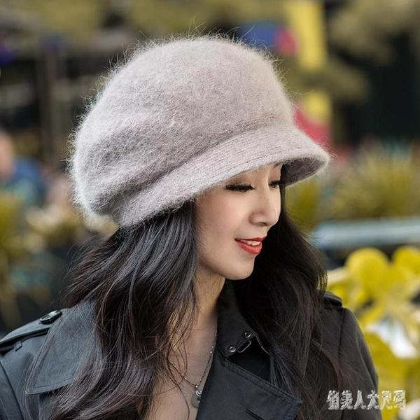 帽子女秋冬韓版百搭時尚女式洋氣保暖盆帽中年媽媽女士毛線貝雷帽 yu10013『俏美人大尺碼』